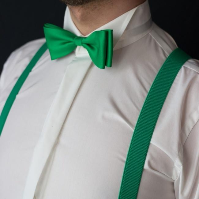Zelený pánský set Šle a Motýlek jednobarevný model