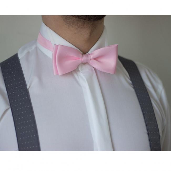 Světle růžovo šedý Luxusní pánský set Šle s koženým středem a motýlek s kapesníčkem