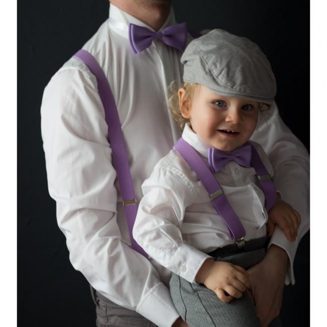 Fialový dětský set Šle a Motýlek jednobarevný model 2