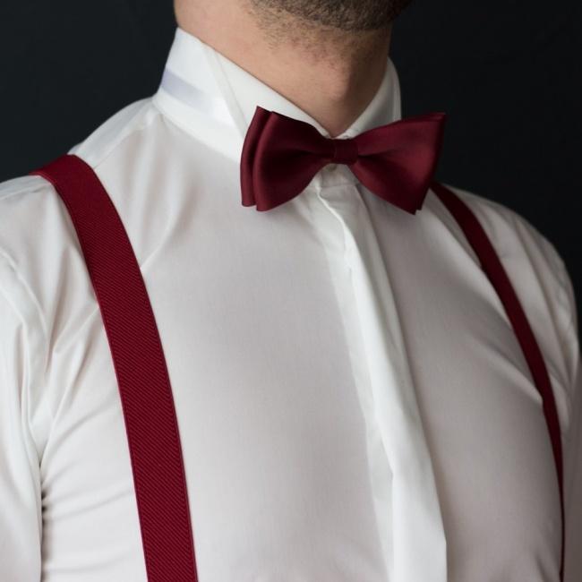 Vínově červený pánský set Šle a Motýlek jednobarevný matný model