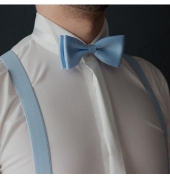 Světle modrý pánský set Šle a Motýlek jednobarevný matný model