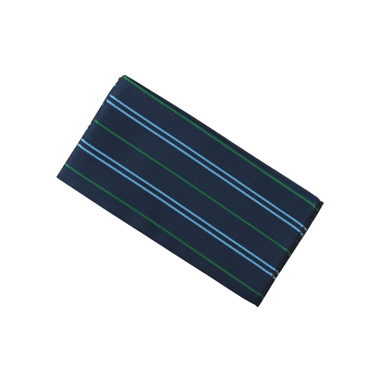 Tmavě modrý pánský kapesníček do saka s proužky