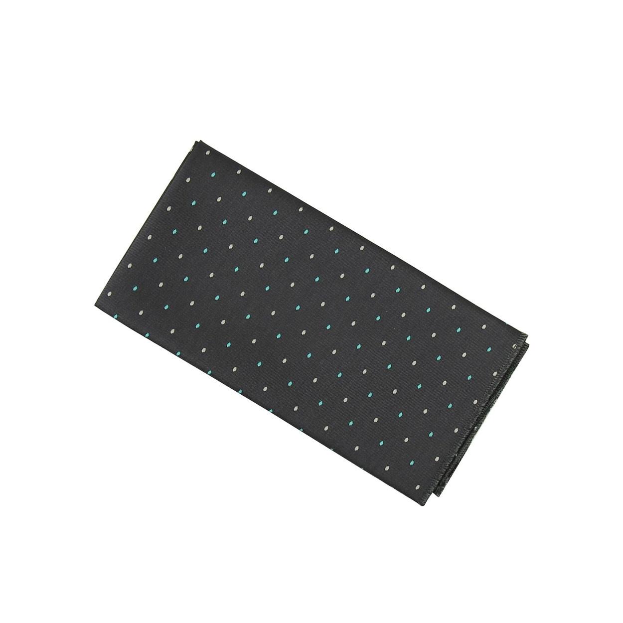 Tmavě šedý pánský kapesníček do saka s puntíky