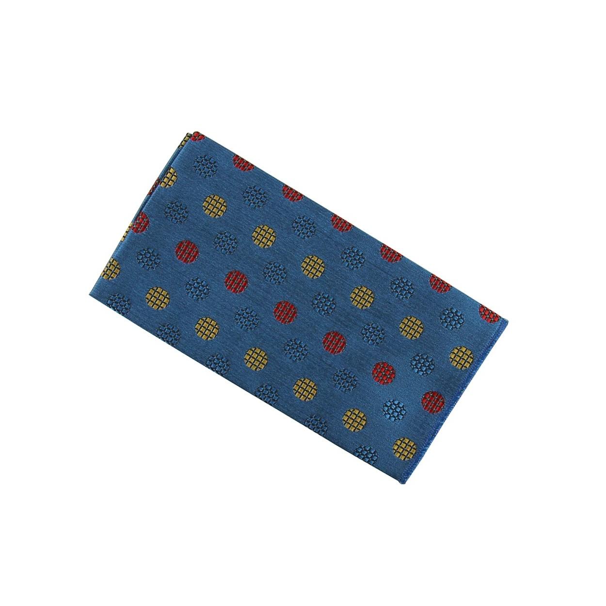 Modrý pánský kapesníček do saka s barevnými kolečky