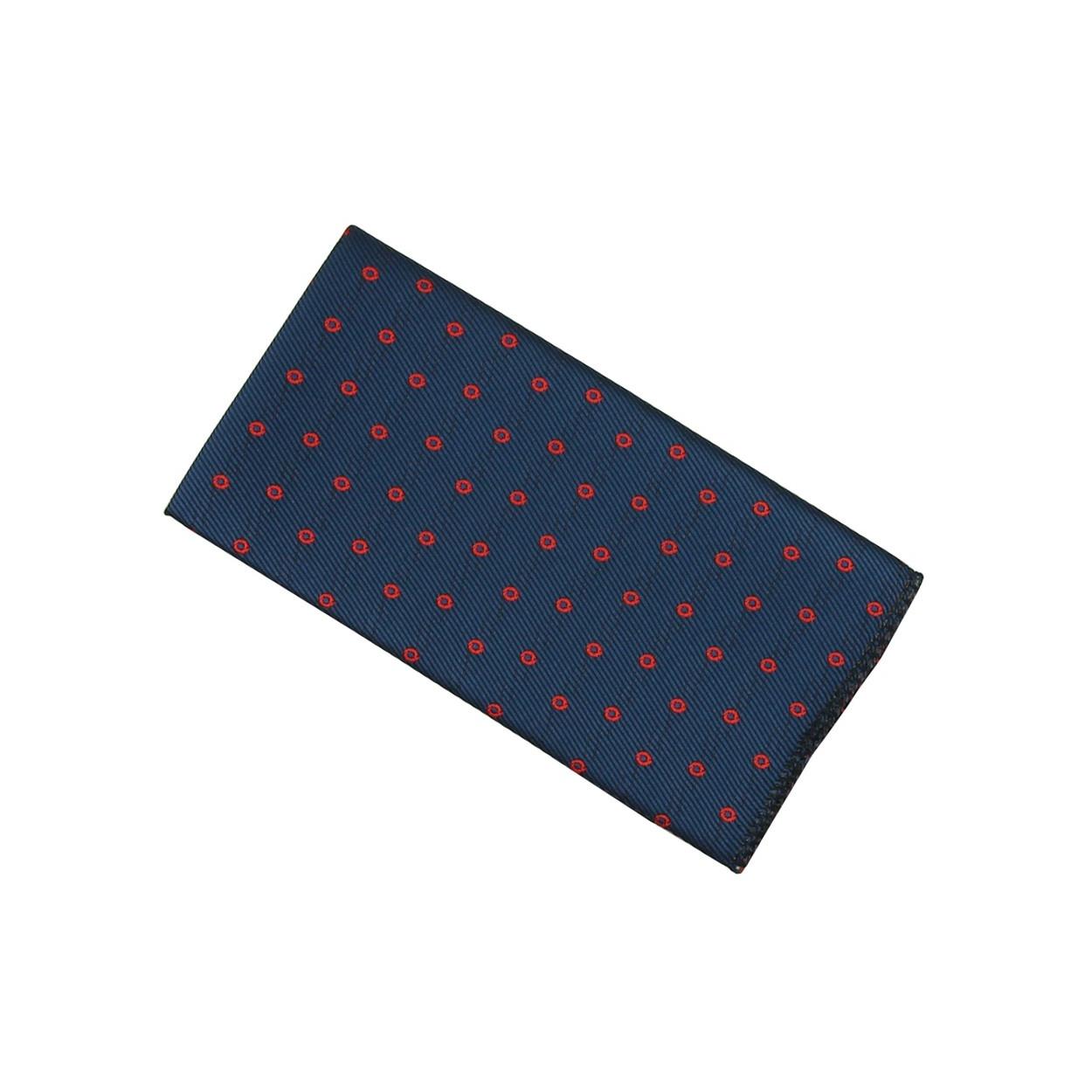 Tmavě modrý pánský kapesníček do saka s červenými kroužky