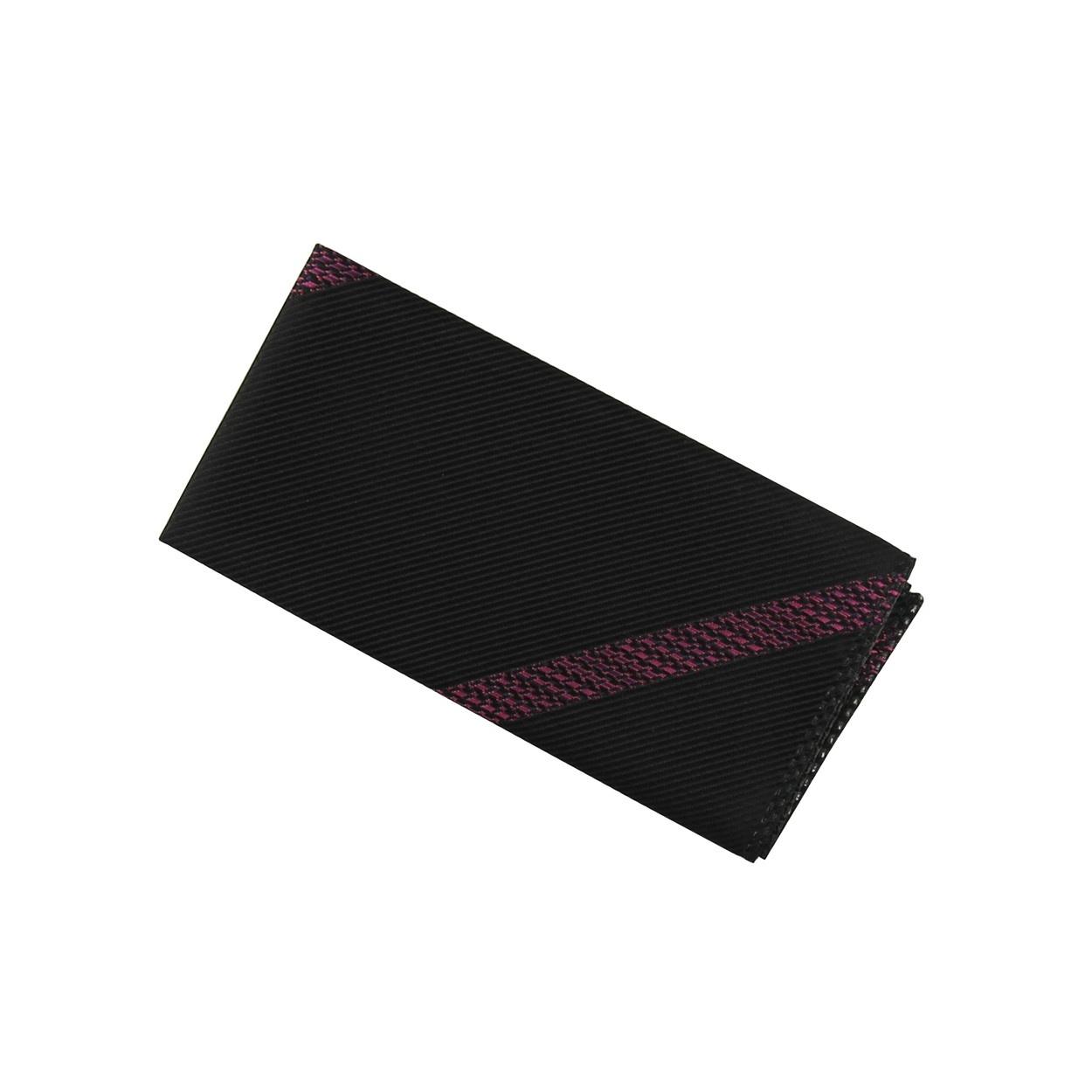 Černý pánský kapesníček do saka s fialovými pruhy