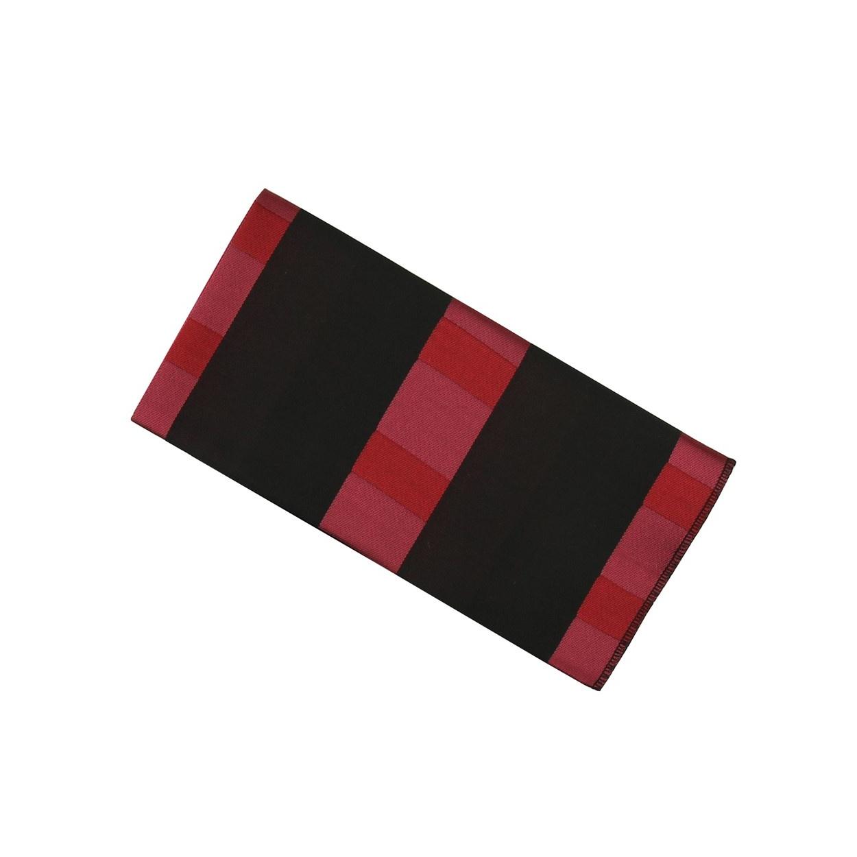 Černý pánský kapesníček do saka s vínově červenými pruhy