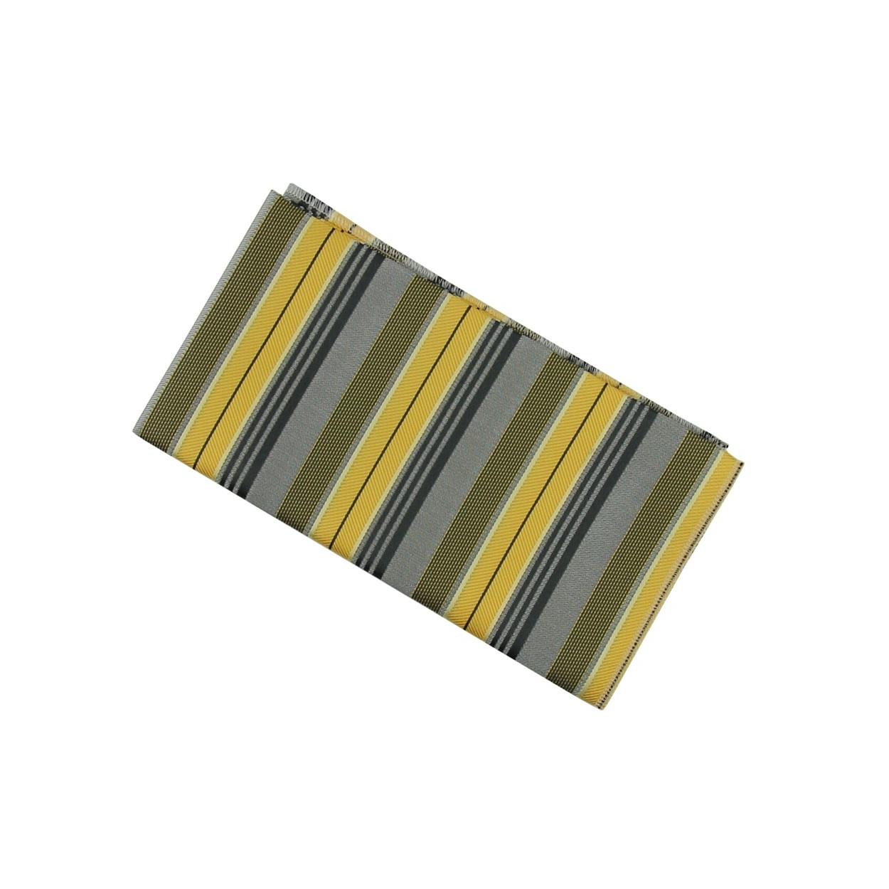 Žluto šedý pánský kapesníček do saka s pruhy