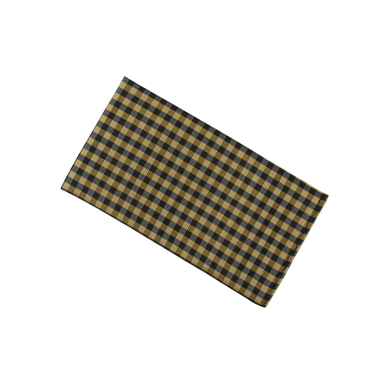 Hnědo černý pánský kapesníček do saka s kostkovaným vzorem