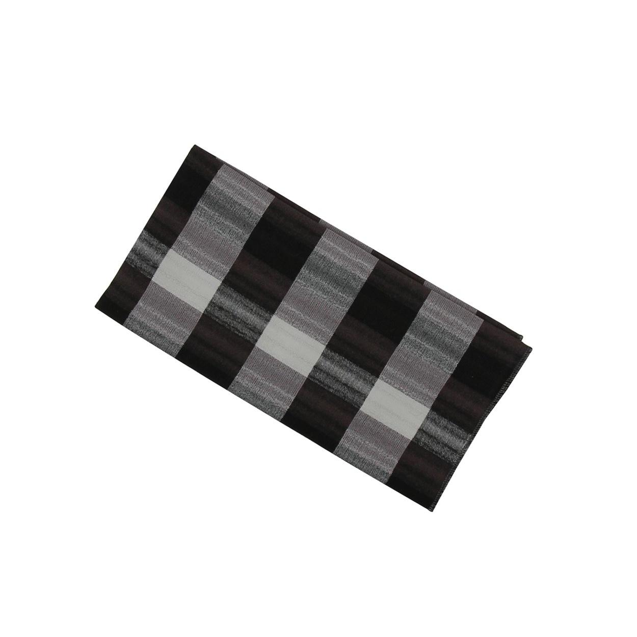 Šedo černý pánský kapesníček do saka s kostkovaným vzorem