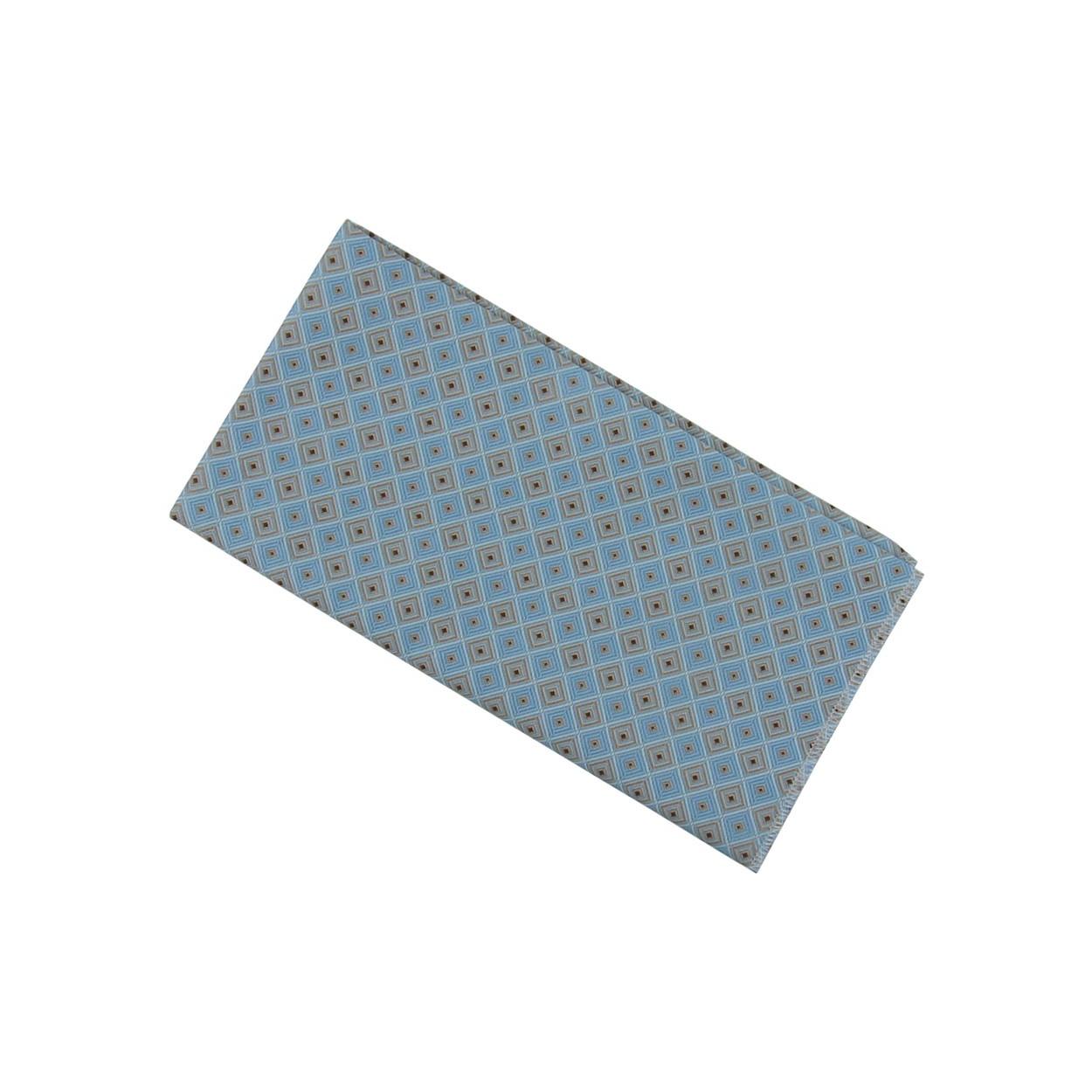 Světle modrý pánský kapesníček do saka s šedými kostičkami
