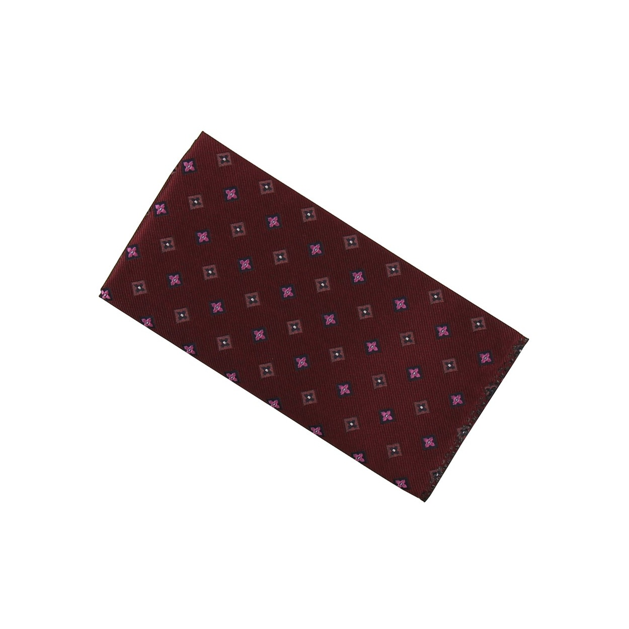 Vínově červený pánský kapesníček do saka s růžovými květy