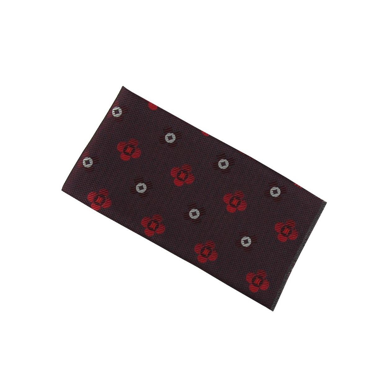 Vínově červený pánský kapesníček do saka s červenými květy