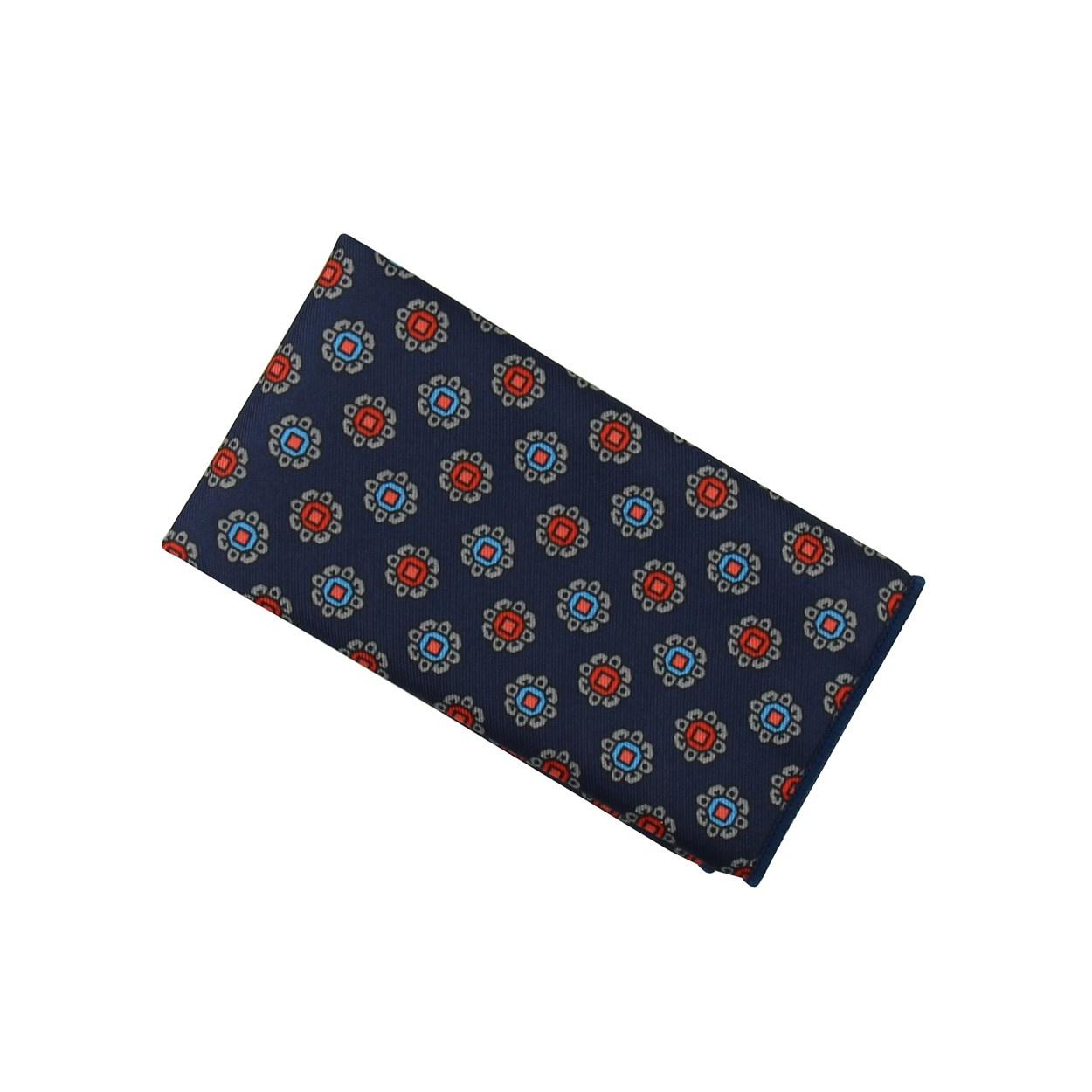 Tmavě modrý pánský kapesníček do saka s červeno modrými květy