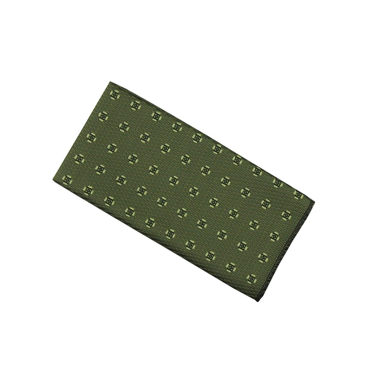 Tmavě zelený pánský kapesníček do saka se zelenými květy