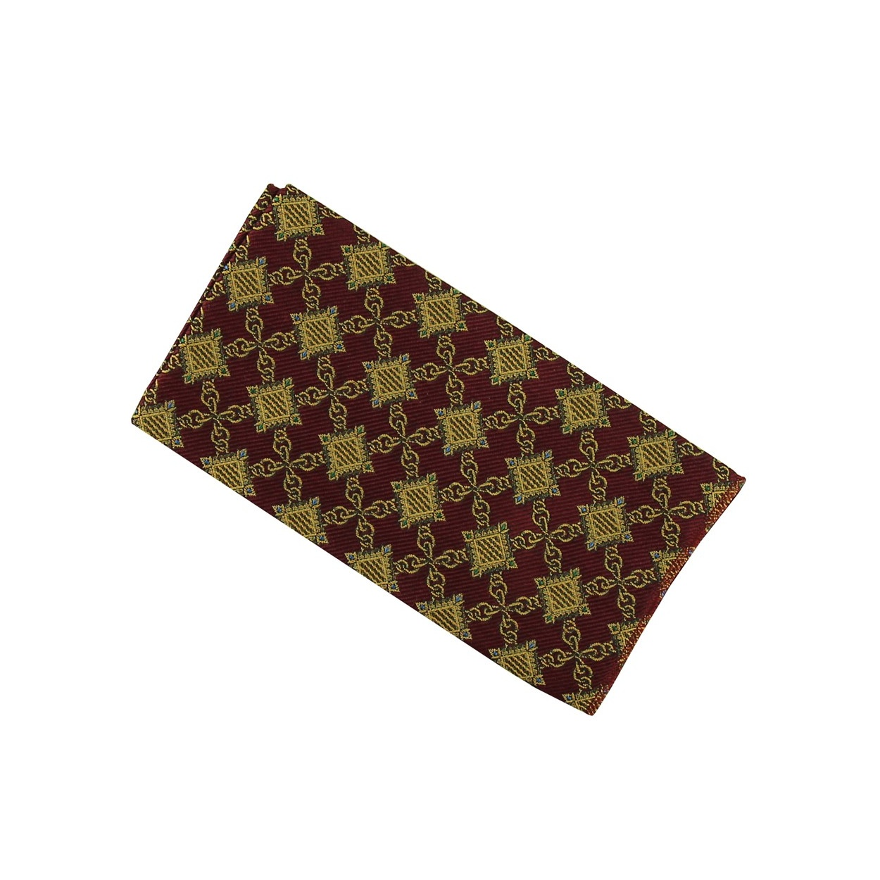 Vínově červený pánský kapesníček do saka se zlatými aplikacemi