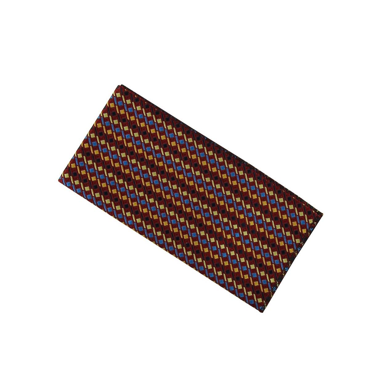 Vínově červený pánský kapesníček do saka s modro žlutým vzorem