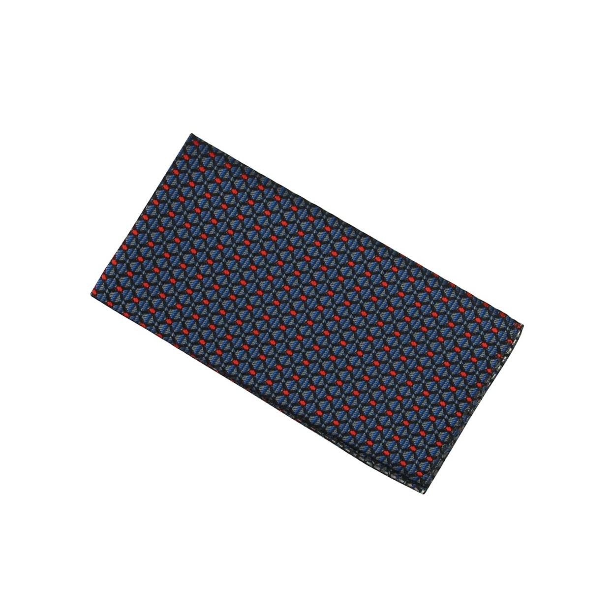 Modro šedý pánský kapesníček do saka s červenými puntíky