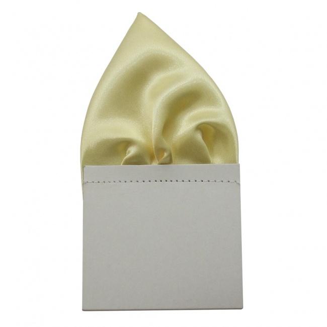Světle žlutý pánský kapesníček do saka lesklý