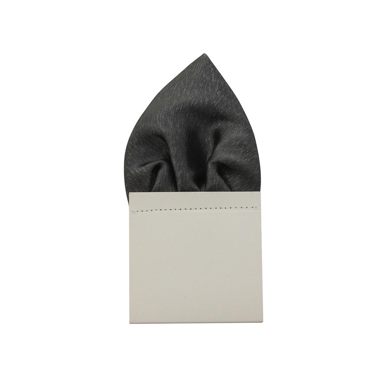 Grafitově šedý pánský kapesníček do saka lesklý