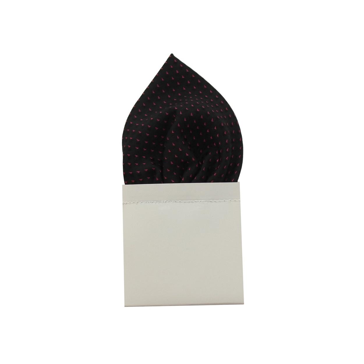 Černý pánský kapesníček do saka s fialovými puntíky