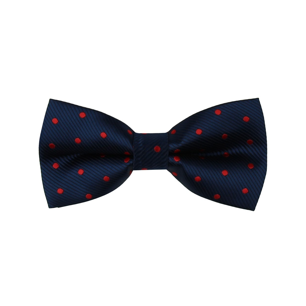 Tmavě modrý pánský motýlek s červenými puntíky