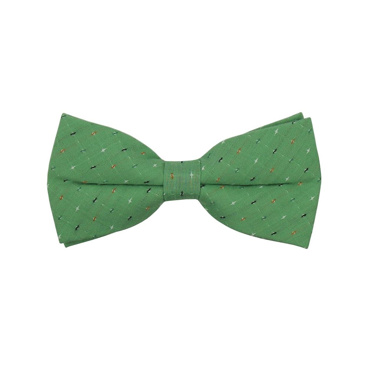 Zelený pánský motýlek s barevnými puntíky