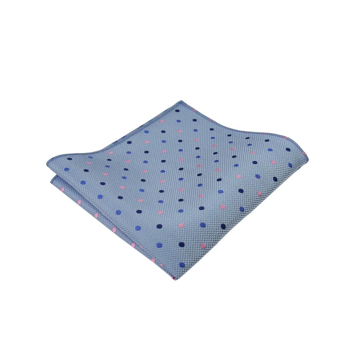 Světle modrý pánský kapesníček do saka s barevnými puntíky
