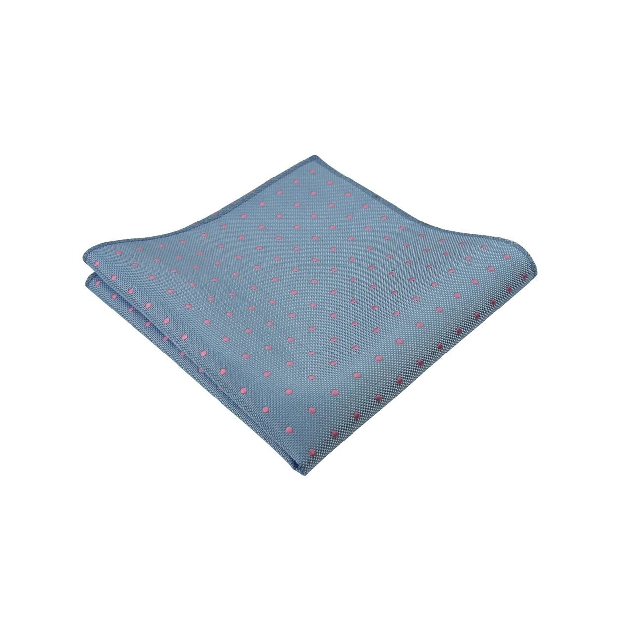 Světle modrý pánský kapesníček do saka s růžovými puntíky