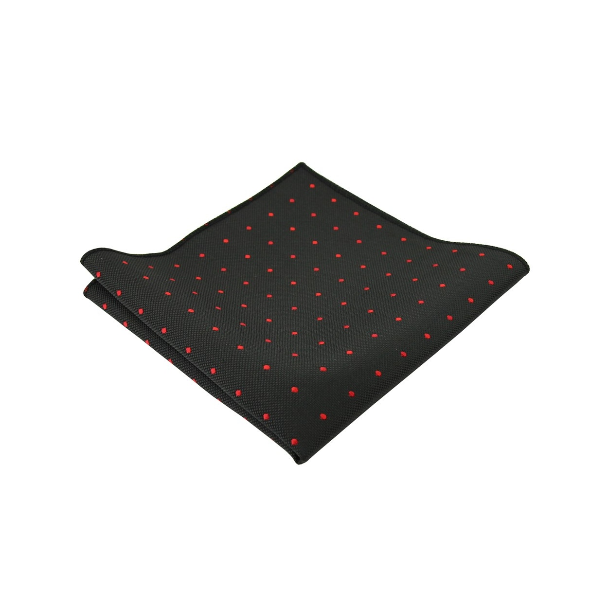 Černý pánský kapesníček do saka s červenými puntíky