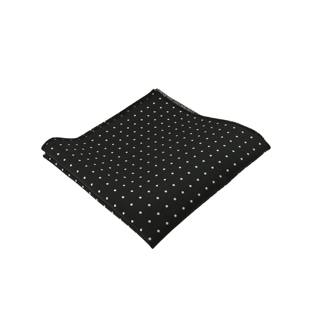 Černý pánský kapesníček do saka s bílými puntíky