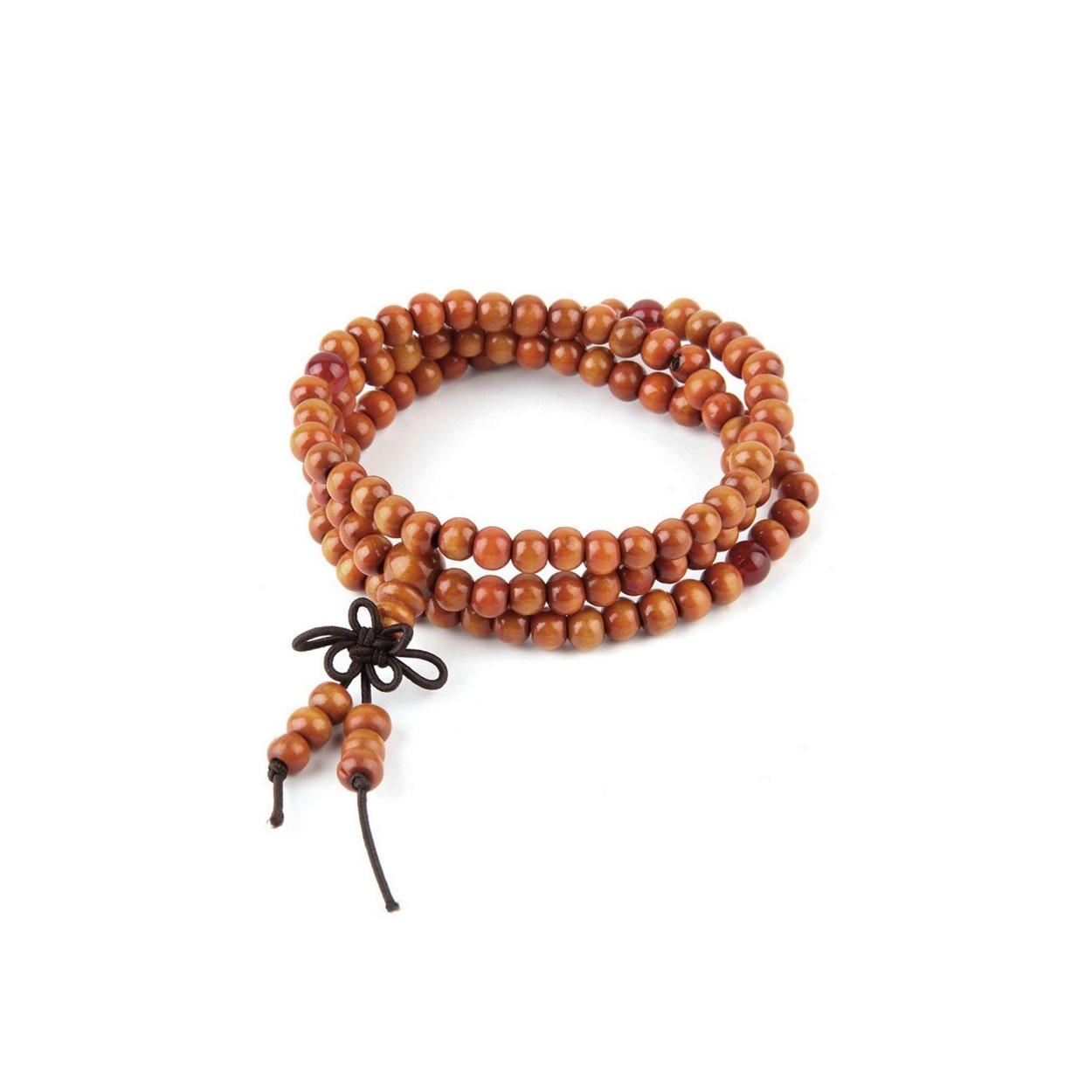 Oranžovo hnědý korálkový náramek matný