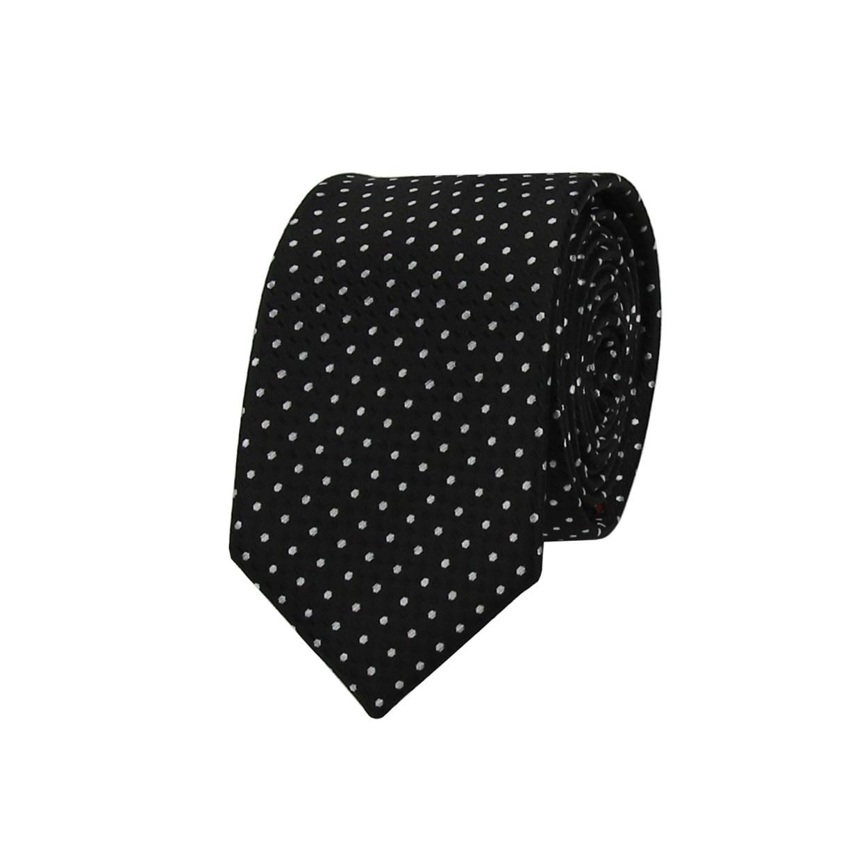 Černá pánská kravata s bílými puntíky