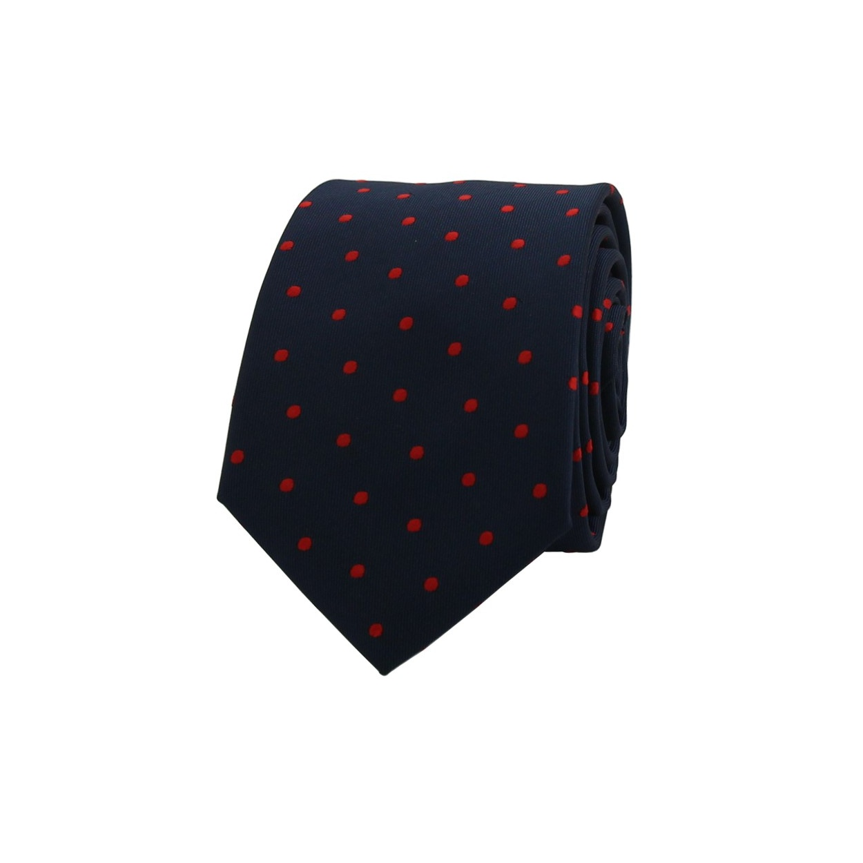 Tmavě modrá pánská kravata s červenými puntíky