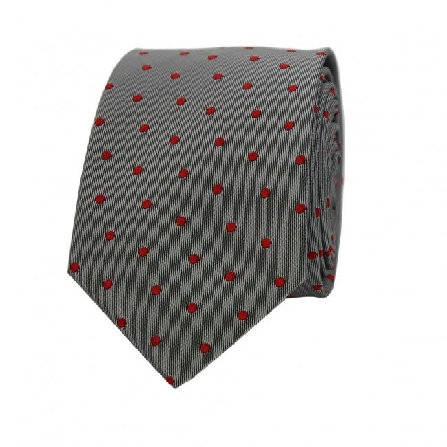Světle šedá pánská kravata s červenými puntíky