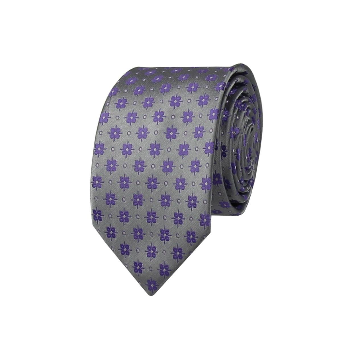 Stříbrná pánská kravata s fialovými květinkami