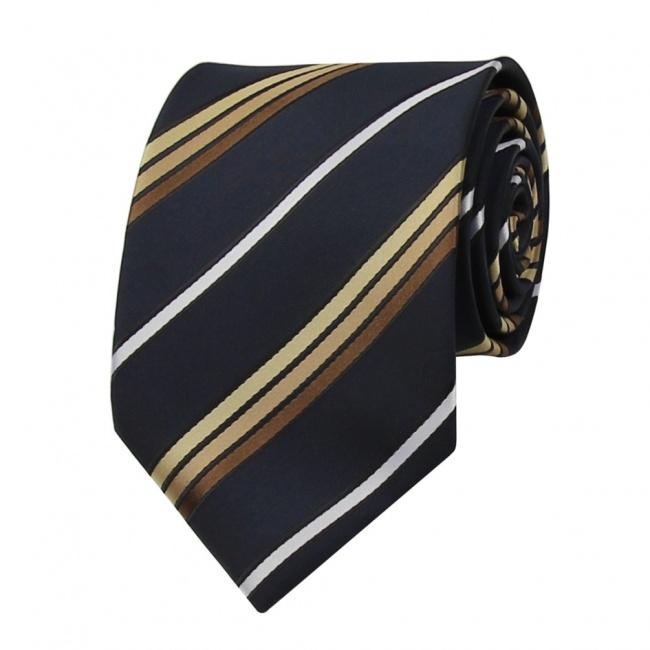 Tmavě modrá pánská kravata s bílo hnědými proužky