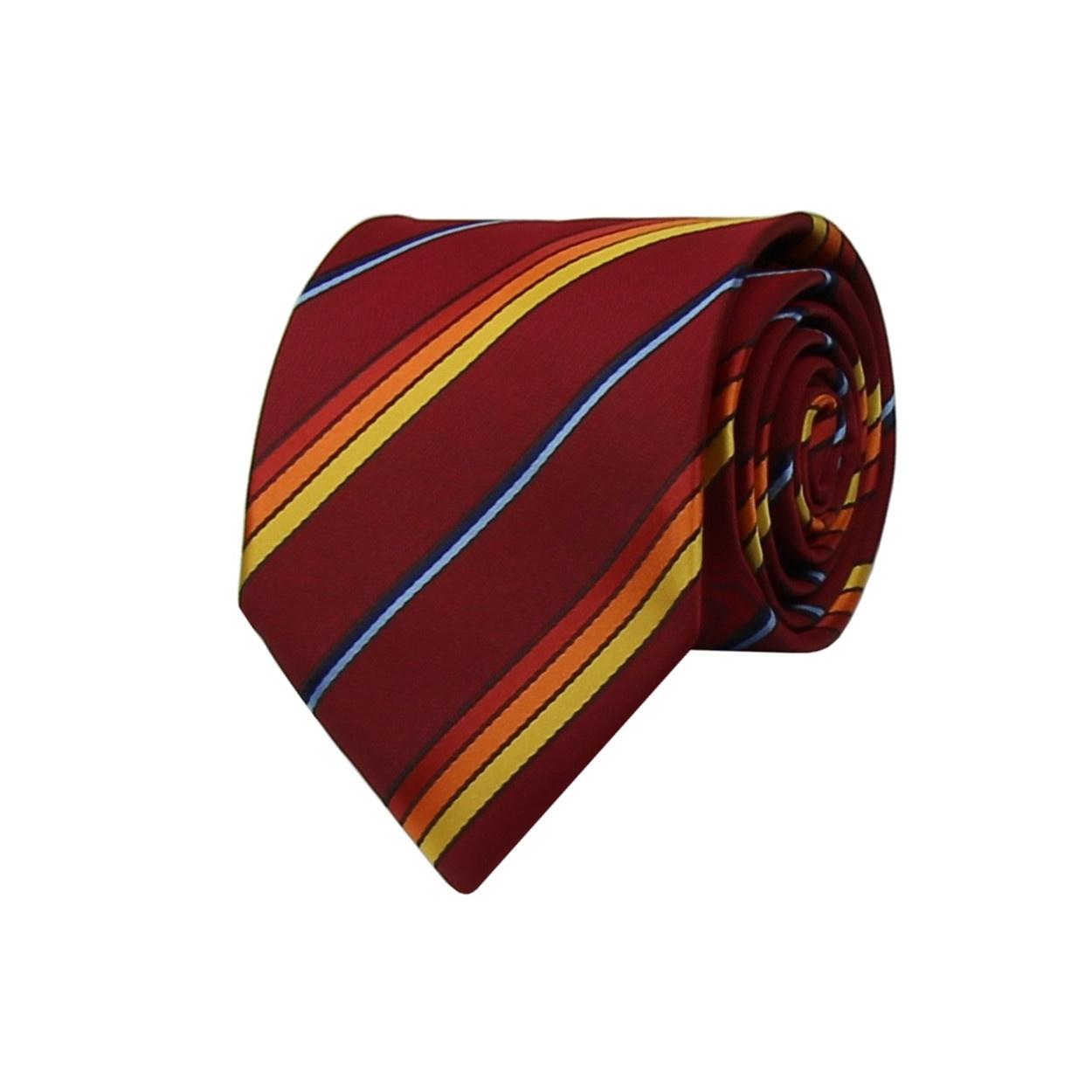 Vínově červená pánská kravata s barevnými proužky