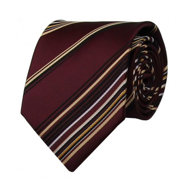 Bordó pánská kravata s žluto černými proužky