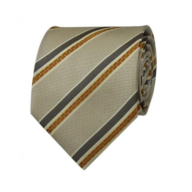 Světle hnědá pánská kravata s oranžovo šedými proužky