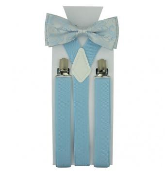 Světlé modrý pánský set Šle a květovaný Motýlek s kapesníčkem