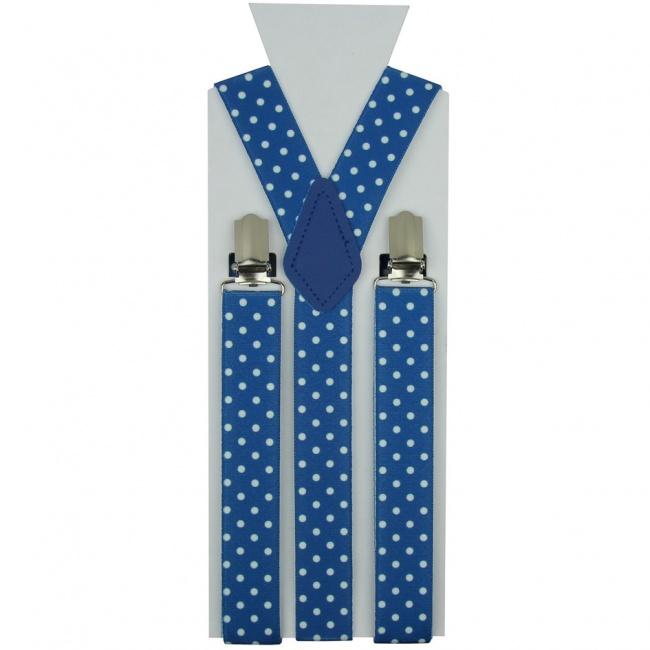 Modré pánské šle - kšandy s bílými puntíky