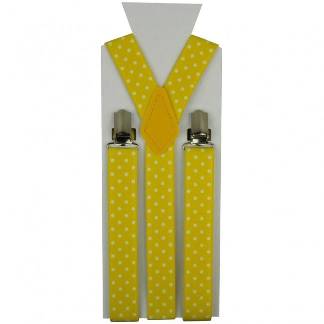 Žluté pánské šle - kšandy s bílými puntíky