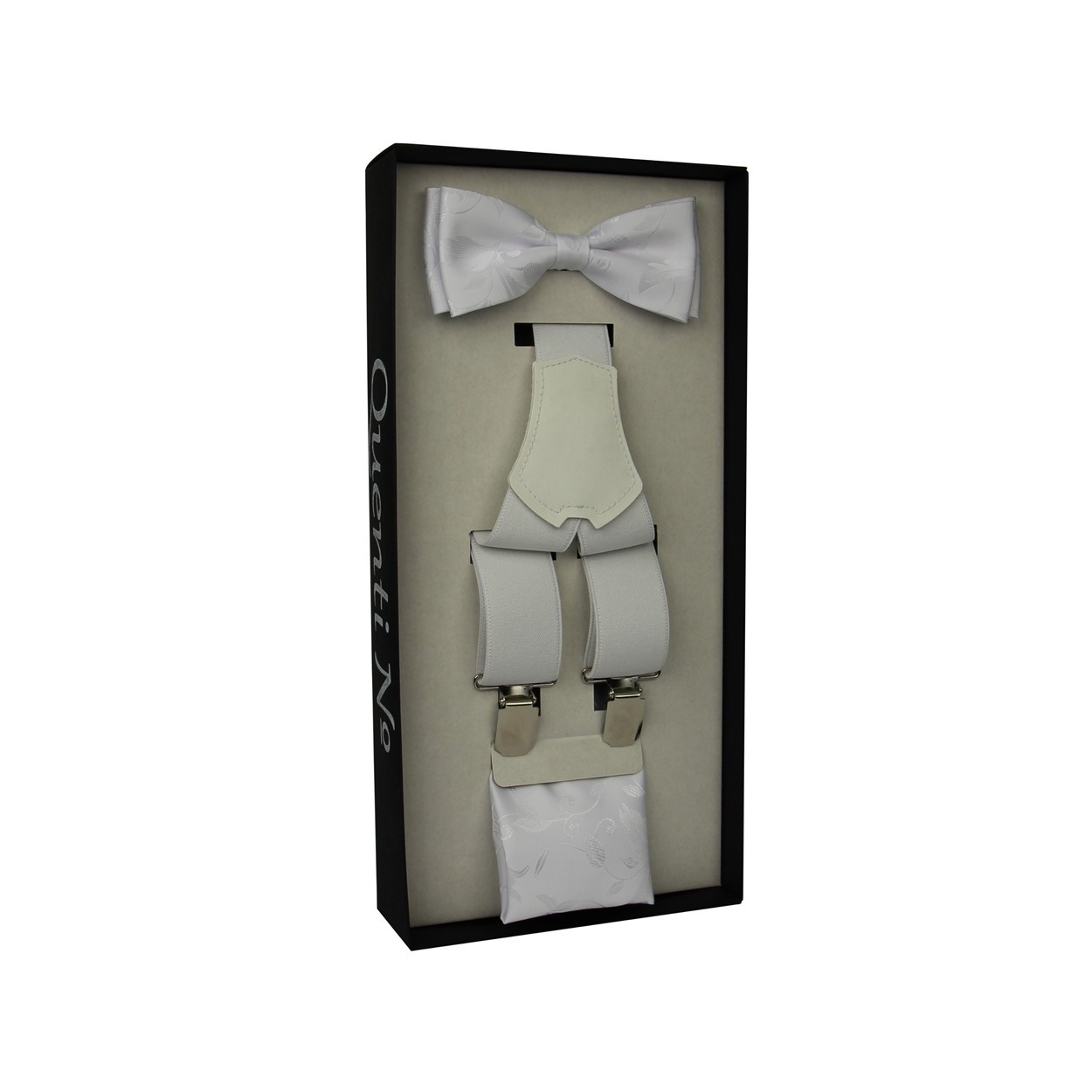 Sněhově bílý Luxusní pánský set Šle a motýlek s kapesníčkem s vyšitými lítsky