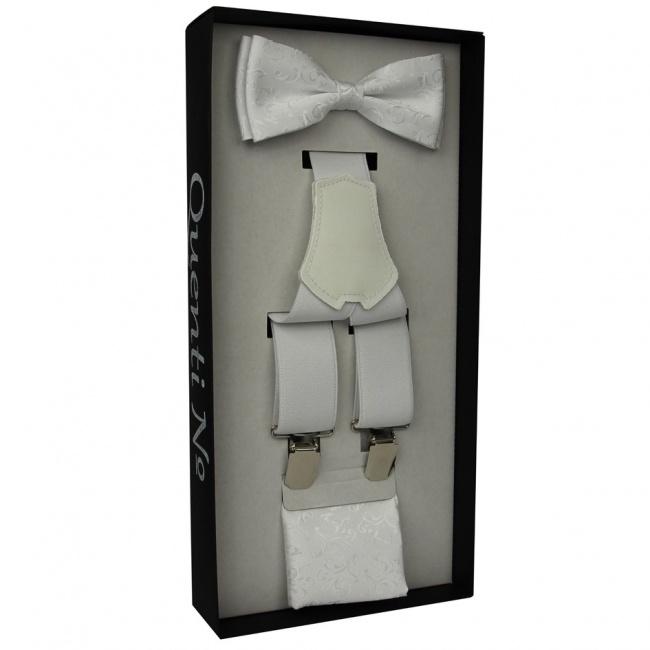 Bílý Luxusní pánský set Šle a motýlek s kapesníčkem s vyšitými lítsky