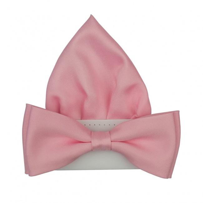 Světle růžový pánský motýlek s kapesníčkem matný