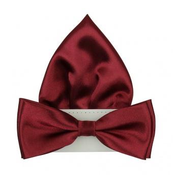 Vínově červený pánský motýlek s kapesníčkem lesklý