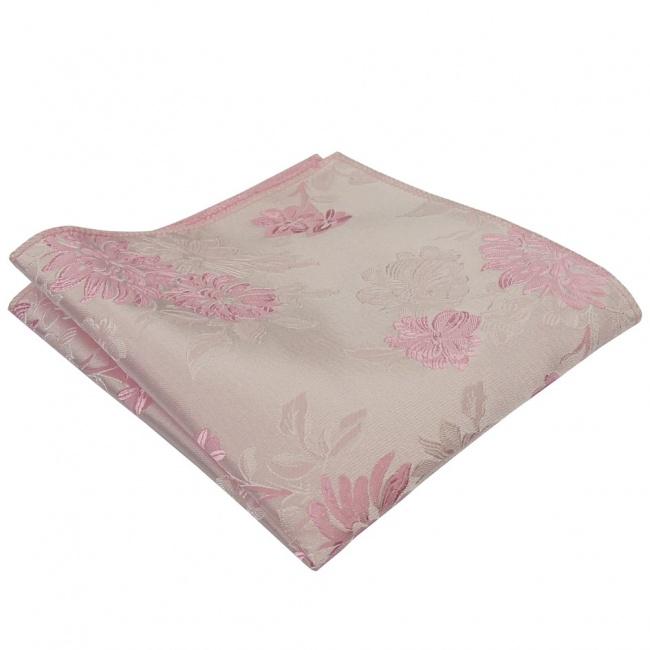 Světle růžový pánský kapesníček do saka s vyšítými květy