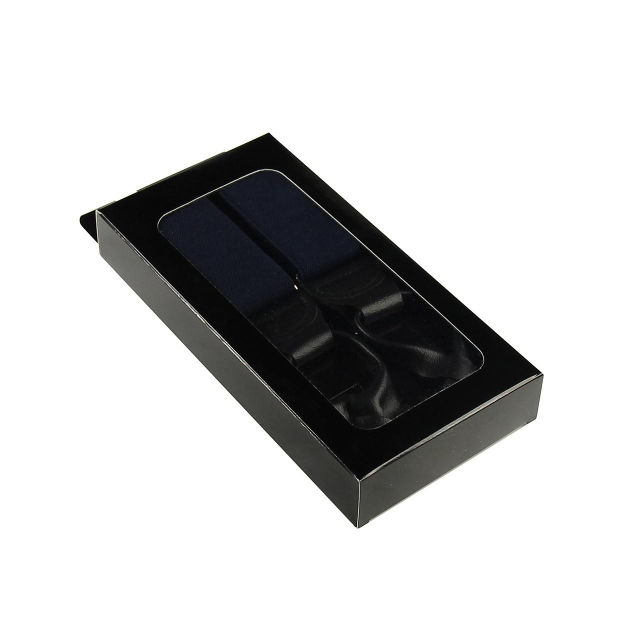 Tmavě modré pánské široké šle - kšandy s poutky 120cm v krabičce