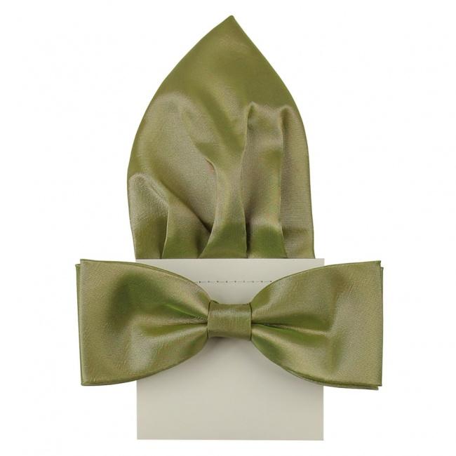 Olivově zelený pánský saténový motýlek s kapesníčkem lesklý